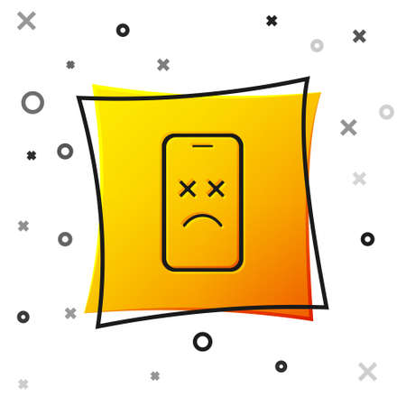 Black Dead mobile icon isolated on white background. Deceased digital device emoji symbol. Corpse smartphone showing facial emotion. Yellow square button. Vector Vector Illustration