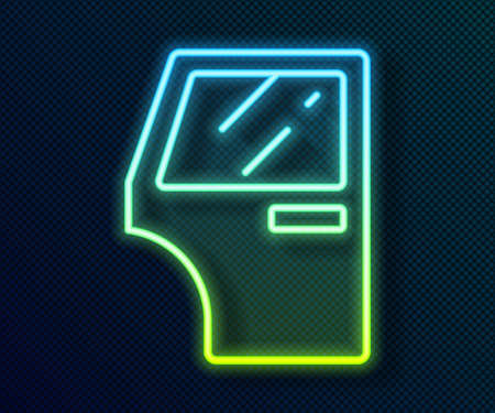 Glowing neon line Car door icon isolated on black background. Vector 일러스트