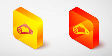 Isometric line Timing belt kit icon isolated on grey background. Yellow and orange square button. Vector