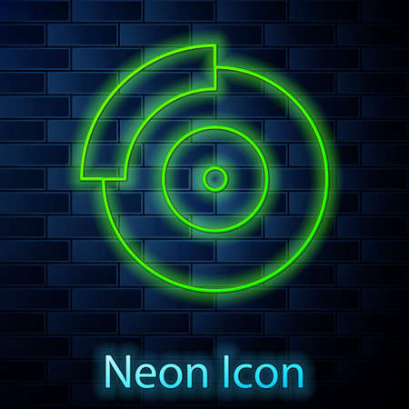 Glowing neon line Car brake disk icon isolated on brick wall background. Vector