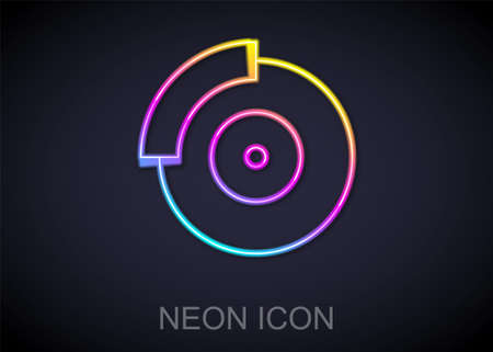 Glowing neon line Car brake disk icon isolated on black background. Vector 일러스트