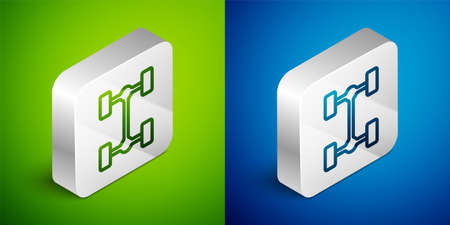 Isometric line Chassis car icon isolated on green and blue background. Silver square button. Vector