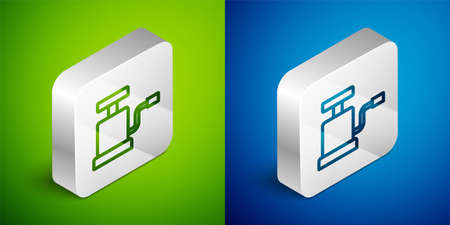 Isometric line Car air pump icon isolated on green and blue background. Silver square button. Vector