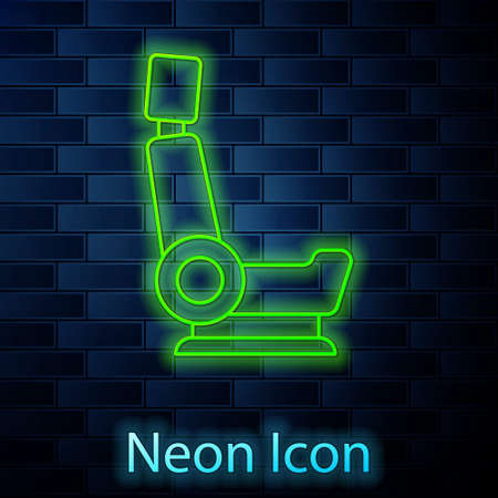 Glowing neon line Car seat icon isolated on brick wall background. Car armchair. Vector