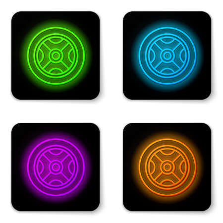 Glowing neon line Car wheel icon isolated on white background. Black square button. Vector