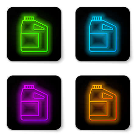 Glowing neon line Canister for motor machine oil icon isolated on white background. Oil gallon. Oil change service and repair. Engine oil sign. Black square button. Vector 일러스트