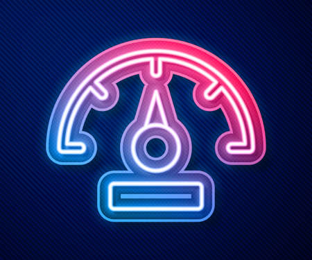 Glowing neon line Speedometer icon isolated on blue background. Vector 일러스트