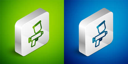 Isometric line Paint spray gun icon isolated on green and blue background. Silver square button. Vector
