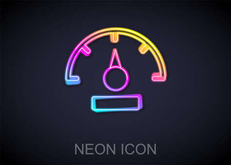 Glowing neon line Speedometer icon isolated on black background. Vector