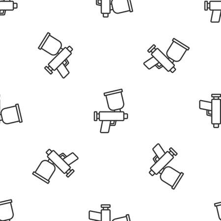 Grey line Paint spray gun icon isolated seamless pattern on white background. Vector