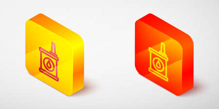 Isometric line Canister for motor machine oil icon isolated on grey background. Oil gallon. Oil change service and repair. Yellow and orange square button. Vector
