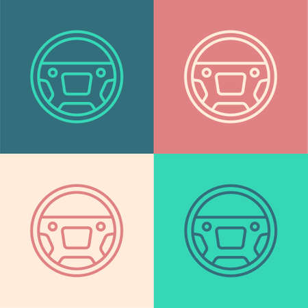 Pop art line Steering wheel icon isolated on color background. Car wheel icon. Vector