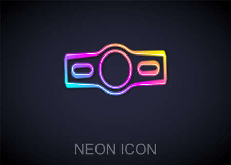 Glowing neon line Boxing belt icon isolated on black background. Belt boxing sport championship winner fight award. Vector