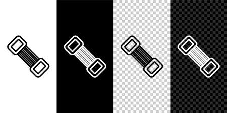 Set line Chest expander icon isolated on black and white,transparent background. Vector