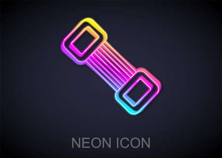 Glowing neon line Chest expander icon isolated on black background. Vector
