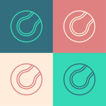 Pop art line Tennis ball icon isolated on color background. Sport equipment. Vector Illustration