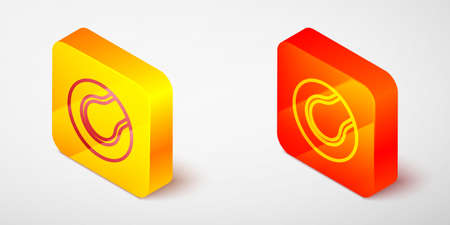 Isometric line Tennis ball icon isolated on grey background. Sport equipment. Yellow and orange square button. Vector
