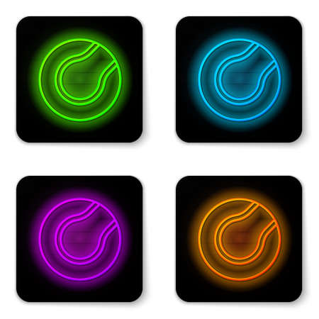 Glowing neon line Tennis ball icon isolated on white background. Sport equipment. Black square button. Vector Illustration