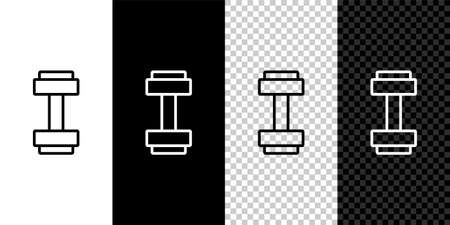 Set line Dumbbell icon isolated on black and white, transparent background. Muscle lifting icon, fitness barbell, gym, sports equipment, exercise bumbbell. Vector