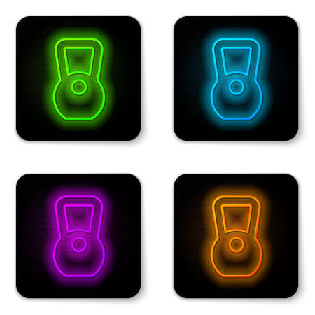 Glowing neon line Kettlebell icon isolated on white background. Sport equipment. Black square button. Vector