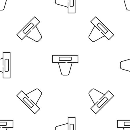 Grey line Groin guard for martial arts icon isolated seamless pattern on white background. Vector