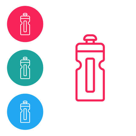 Red line Fitness shaker icon isolated on white background. Sports shaker bottle with lid for water and protein. Set icons in circle buttons. Vector