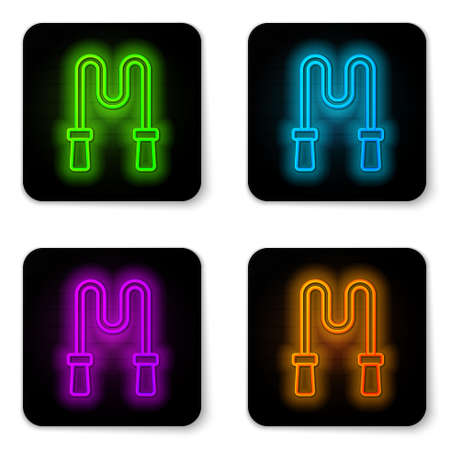 Glowing neon line Jump rope icon isolated on white background. Skipping rope. Sport equipment. Black square button. Vector Ilustracja