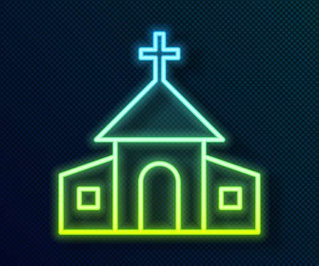 Glowing neon line Church building icon isolated on black background. Christian Church. Religion of church. Vector 일러스트
