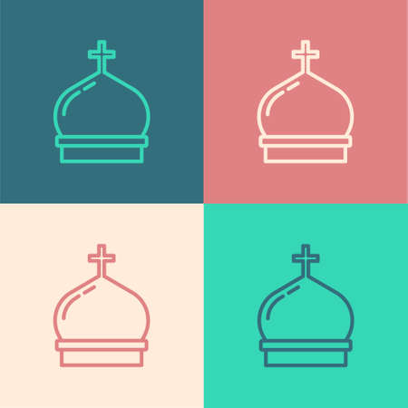 Pop art line Christian church tower icon isolated on color background. Religion of church. Vector