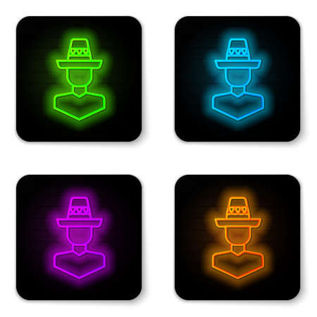 Glowing neon line Mexican man wearing sombrero icon isolated on white background. Hispanic man with a mustache. Black square button. Vector
