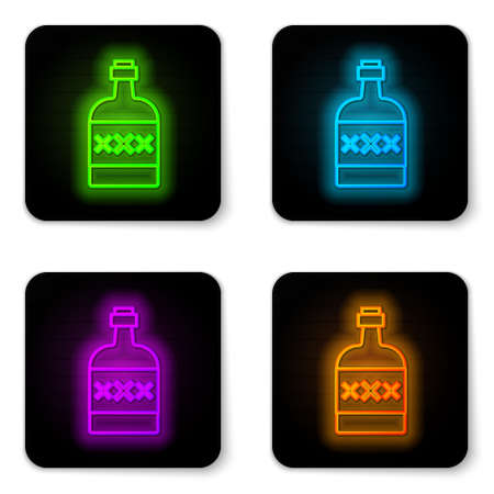 Glowing neon line Tequila bottle icon isolated on white background. Mexican alcohol drink. Black square button. Vector Vetores