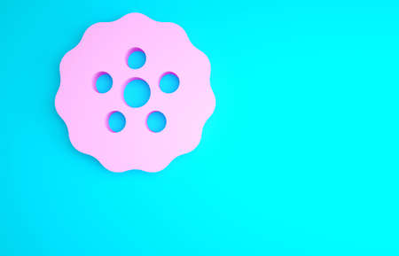 Pink Gear icon isolated on blue background. Cogwheel gear settings sign. Cog symbol. Minimalism concept. 3d illustration 3D render Stock Photo