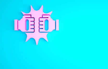 Pink Punch in boxing gloves icon isolated on blue background. Boxing gloves hitting together with explosive. Minimalism concept. 3d illustration 3D render