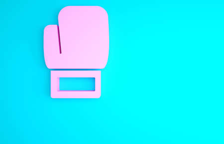 Pink Boxing glove icon isolated on blue background. Minimalism concept. 3d illustration 3D render