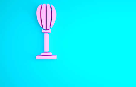 Pink Punching bag icon isolated on blue background. Minimalism concept. 3d illustration 3D render