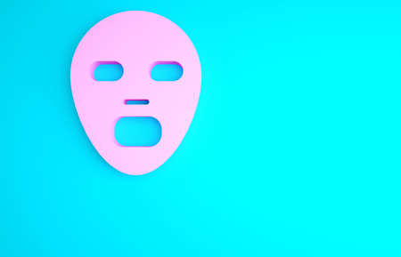 Pink Facial cosmetic mask icon isolated on blue background. Cosmetology, medicine and health care. Minimalism concept. 3d illustration 3D render