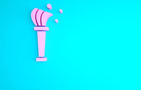 Pink Aspergillum icon isolated on blue background. Minimalism concept. 3d illustration 3D render