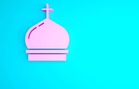 Pink Christian church tower icon isolated on blue background. Religion of church. Minimalism concept. 3d illustration 3D render