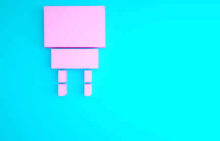 Pink Charger icon isolated on blue background. Minimalism concept. 3d illustration 3D render