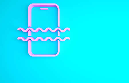 Pink Waterproof mobile phone icon isolated on blue background. Smartphone with drop of water. Minimalism concept. 3d illustration 3D render Reklamní fotografie