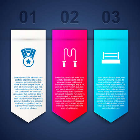 Set Medal, Jump rope and Boxing ring. Business infographic template. Vector