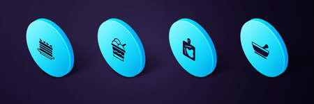 Set Isometric Mortar and pestle, Cutting board, Ice cream bowl and Cake icon. Vector