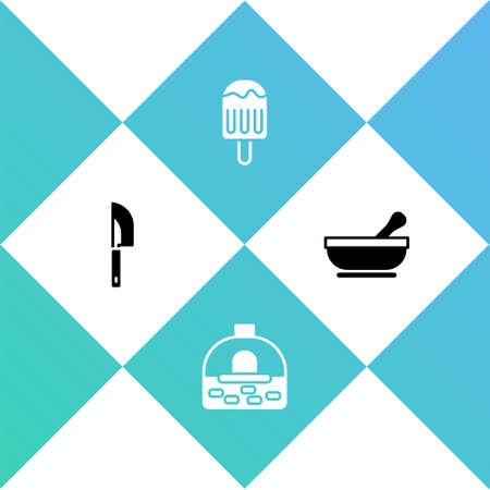 Set Knife, Brick stove, Ice cream and Mortar and pestle icon. Vector