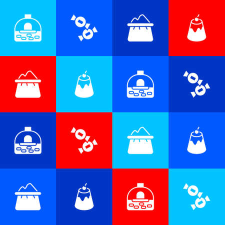 Set Brick stove, Candy, Bag of flour and Pudding custard icon. Vector