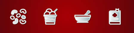 Set Jelly candy, Ice cream in bowl, Mortar pestle and Cookbook icon. Vector