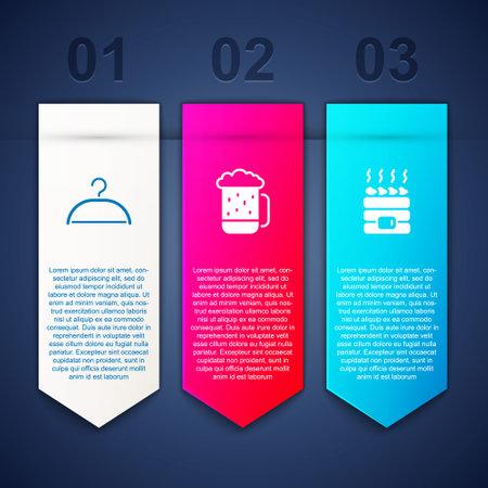 Set Hanger wardrobe, Wooden beer mug and Hot sauna stones. Business infographic template. Vector