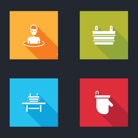 Set Man in the sauna, Sauna bucket, bench with and mittens icon. Vector