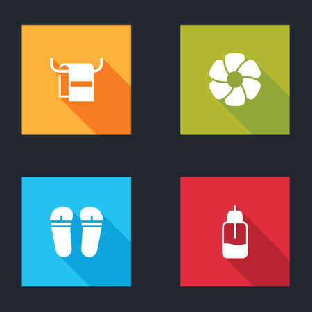 Set Towel on a hanger, Flower, Flip flops and Essential oil bottle icon. Vector