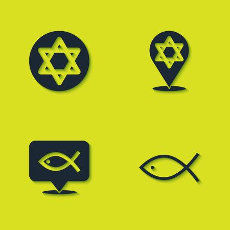 Set Star of David, Christian fish, and icon. Vector