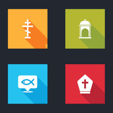 Set Christian cross, Muslim Mosque, fish and Pope hat icon. Vector
